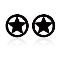 스틸 블랙 서클 스터드 귀걸이 펜타그램 스타 남자 여자 사기 가짜 귀마개 게이지 터널