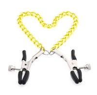 Abrazaderas de engrasador juguetes para la mujer adulta atractiva novedad Misericordia encadenado Bdsm leche Clip Bells clip del pecho femenino clítoris restricciones