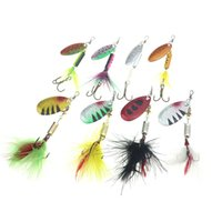 Pesca Rompin iscas Spinner wobblers Crankbaits Jig Shone metal Lantejoula Trout Colher Com Pena Ganchos para Carp Fishing Pesca