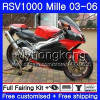 Красный черный верх Корпус Для Aprilia RSV 1000R 1000 RV60 Mille RSV1000 R RR 03 04 05 06 316HM.18 RSV1000RR RSV1000R 2003 2004 2005 2006 Обтекатели
