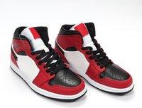 Jumpman 1 meados de pés 554724-069 Preto Ginásio Vermelho Branco Running Shoes para Homens Basquetebol Sneakers des Chaussures Manbasketballshoes