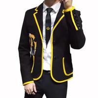 Homens Blazer Tempo de lazer homens auto-cultivo Suit Brasão Masculino Bordado Tendência Hip-hop Tide Bordados Logo Jacket