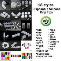 18 stili monouso gel di silice del silicone Drip Tip 510 Bocchino largo foro E Cigarette BACCELLI fit RDA Atomizer Alta qualità DHL