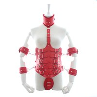 SM Lock Down PU cuir taille Cincher Underbust Corset avec collier attaché et bras de maintien Fétiche Costume Adult Sex Toys pour les femmes