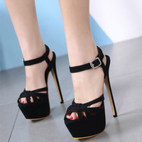 16cm Designer heels party shoes black cross strappy platfom ...