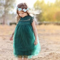 Ins Fly Sleeve Toddler Tulle Dress Knee Length Evening Dress...