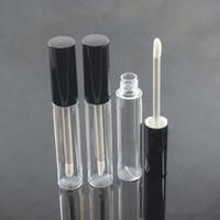 10ml Пустые бутылки блеск для губ Lip масло Контейнер Lipgloss Флакон Пустой круглый Lip Gloss Tube Упаковка с черным Silver Cap EEA1555