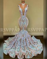 Prom Dress lungo di nuovo arrivo 2020 Sparkly Glitter Sequin sexy See attraverso la parte superiore africani ragazza sirena Prom Dresses 2020