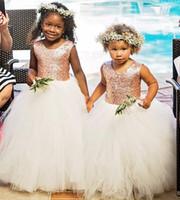 Rose d'or paillettes robes de filles de fleur bébé Infant Toddler Baptême vêtements avec Tutu Tulle robes de bal fête d'anniversaire sur mesure Made Cheap