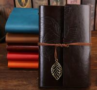 Vintage En Cuir Voyage Journal Notebook Feuilles Décoration En Cuir PU Couverture Bureau D'affaires Bloc-Notes Quotidien Calendrier Memo Sketchbook Statione