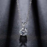 أربعة مخالب جولة الماس قلادة 925 الفضة مطلي الأزياء الأرنب الأذن v إلكتروني المرأة مكعب زركونيا قلادة المختنق بيان القلائد الفتيات تشيكوسلوفاكيا الزركون مجوهرات هدية