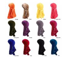 Новые мужчины женщины бандана бархатная шляпа тюрбан Durag хип-хоп головные уборы платок с длинным хвостом повязка на голову череп Cap пиратская шляпа для мужчин и женщин 12 цветов