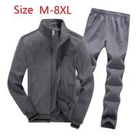 Tamaño 8XL Plue alta calidad 100% algodón chándal de los hombres Nuevas series sudor del chándal Sweatershirt Conjunto de deporte de los hombres Conjuntos de Marca Moda