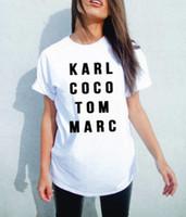 Летние мужчины Женщины Black Karl Coco Tom Marc Американская футболка Женщина Tee Модные Топы Улица Хиппи Панк Мужчины Женские Футболики