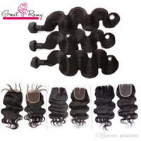 Greatremy® 3pcs brasilianska hårbuntar med topplåsfria 1pc Human Virgin Hair Weave Full Head Peruvian Hair Extensions Weave