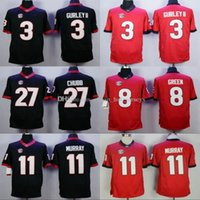 NCAA College UGA Georgia Bulldogs 3 Todd Gurley II 8 AJ Green 27 Nick Chubb 11 Aaron Murray College Double Stiched Maillots Noir Rouge