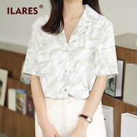 女性のブラウスシャツの耳字ブラウスの女性2021女性トップスプラスサイズのシャツチュニックヴィンテージルーズシフォン服印刷半袖トップWO