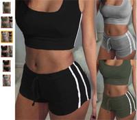 Moda Yoga Kıyafetler 2 adet Çizgili Tasarım İpleri Şort Ince Sutyen Yelek Eşofman Setleri Spor Koşu Spor Takım Elbise Kadınlar 18ay E19