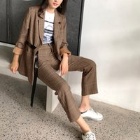 spring autumn Female office Office lady plaid Blazer suit pa...