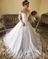 Simple Long Sleeve A Line Wedding Dresses 2019 New Scoop Nec...