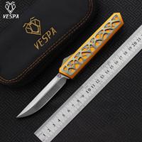 Hoja de cuchillo plegable de alta calidad VESPA Dark star: M390 (Satin) Mango: 7075Aluminum + TC4, cuchillos de supervivencia para acampar al aire libre herramientas EDC