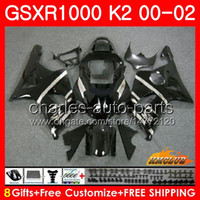 Telaio per SUZUKI GSX-R1000 GSXR1000 K2 Black Light New GSX R1000 00 02 Bodys Kit 14HC.4 GSXR-1000 GSXR 1000 00 01 02 2000 2001 2002 Fairing