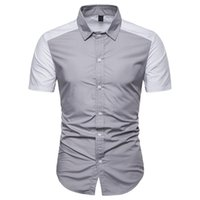 Mens Designer Patchwork Shirts Fashion Lapel Neck Short Sleeve Polos Natural Color Polos Mens Clothing