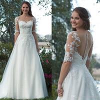 Старинные совок кружева аппликация a-line свадебные платья тюль Половина рукава иллюзия назад развертки поезд кнопка свадебные платья vestidos de novia