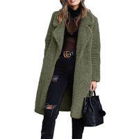Felpa del invierno de la solapa de las mujeres del cuello largo capa de la manera Cardigan sacos de lana ocasional del color sólido mujeres Prendas de abrigo