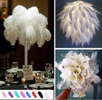 lot başına 10-12 inç Beyaz Devekuşu Tüy Plume Craft Düğün Masa Centerpieces Dekorasyon Ücretsiz Kargo 111 Malzemeleri