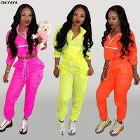 Yeni Kadın Zip Up Boyun Uzun Kollu Kısa Siper Safari Uzun Pantolon Takım Elbise İki Adet Set Sporting Eşofman Kıyafet GLD82381