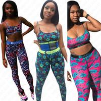 Kadınlar Mayo 2 Adet Set Tasarımcı Yüzme Spor Bra Yelek Üst + Pantolon Tayt Mayo Çiçek Baskılı Tankini Eşofman D7203