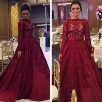 Vintage Burgund Spitze 2019 Arabische muslimische Abendkleider lange Ärmel Eine Linie Prom Kleider formale Partykleider anpassen