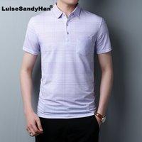 LuiseSandyHan 2020 Primavera Estate manica corta T shirt da Uomo Slim Fit business maglietta casuale degli uomini vestiti di cotone Tee Shirt Homme
