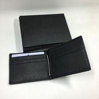 الأزياء رقيقة محفظة رجال الأعمال المال كليب أسود جلد طبيعي 2 مطوية محفظة محفظة لا سستة فاخرة عملة جيب بطاقة الهوية حامل id