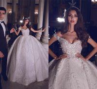 Shouder Kristal Boncuklu Balo Gelinlik Vintage Dantel Aplike Prenses Artı boyutu Dubai Gelin Elbise Off Lüks