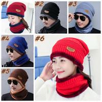 Kış Beanie Hat Eşarp Seti Sıcak Bere Kalın Örme Kafatası Cap İçin Erkekler Kadınlar Pamuk Beanie Örme ZZA1494-7 Caps