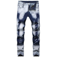 MORUANCLE Fahsion Men Painted Denim Pants Hi Street Printed Stretchy Jeans Trousers For Male Hi Streetwear Plus Size 28-40
