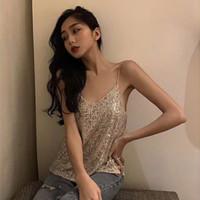 2019 Frauen Sparkly Pailletten V-Ausschnitt Party Top Shirt Mode V-Ausschnitt Backless Sommer Weste für Frauen XS-L Z01