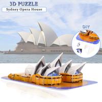 골판지 시드니 오페라 하우스 3D 퍼즐 장난감 창조적 인 DIY 세계 유명한 매력 모델 키트 교육 선물 데스크탑 홈 장식