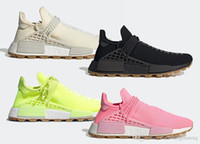 El más nuevo Auténtico Pharrell Williams HU PRD Gum Pack Solar Yellow Hyper Pop Core Black Cream White Hombres Mujeres Running Shoes Human Race Sneakers