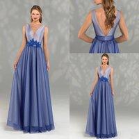 2020 A-line Mother of the Bride Dress V-образным вырезом без рукавов пояс аппликация свадебное платье для гостей Сексуальная спинка длиной до пола на заказ вечернее платье