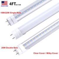 Tubo de LED Luz 4FT T8 Lâmpadas LED 18W 22W 28W Branco Frio 5000K 6500K Super Bright T8 4 pés levou AC85-265V Tubo