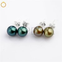 Round Pearl Earrings Freshwater Peacock 925 Sterling Silver ...
