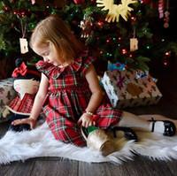 Vestido de las muchachas del bebé de la Navidad Niño pequeño Niños Fiesta de Navidad Boda Princesa Arco Vestidos Tutu a cuadros rojos 1-6T Ropa del equipo de los niños