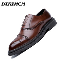 DXKZMCM Uomo in vera pelle Oxford Lace Up Wedding Party Uomo Brown Dress Shoes Brogue