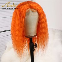 Orange Brazilian Human Hair Full Lace Wigs 150 Density Big C...