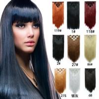 7pcs / set 130g clip sintetica nelle estensioni dei capelli pezzi capelli lisci 22inch clip su capelli estensioni da donna