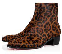 Sonbahar / Kış centilmence Lüks Erkekler Bilek Boots Kırmızı Alt Ziggissimo Leopard Pony Saç Küba Boot Siluet Orlato Erkekler Boots 38-46 yazdır