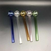 Aproximadamente 10cm Cachimbos pirex de vidro transparente Mini Oil Burner tabaco de tubulação de cigarro Água Bongos Handpipe fumo Acessórios 1 8Ps E19